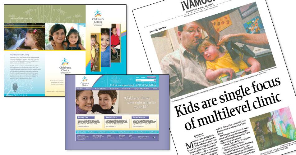 Children's Clinics website and collateral