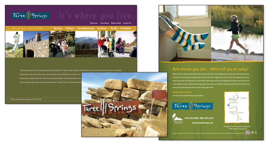 Three Springs of Durango - Ads, Website & Environmental Signage